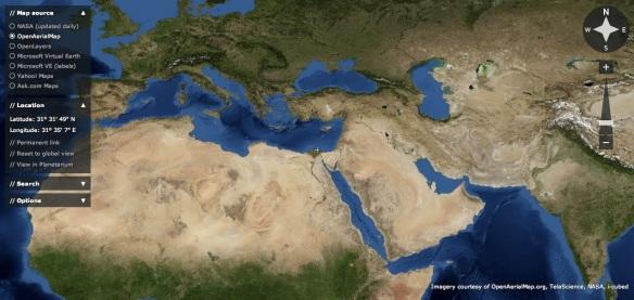 (vista della Terra in modalità OpenAerialMap)