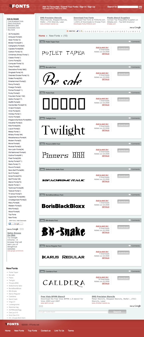 Free Fonts Download (20090623)