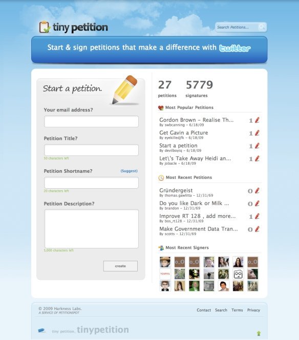 TinyPetition - Create a petition today! (20090618)