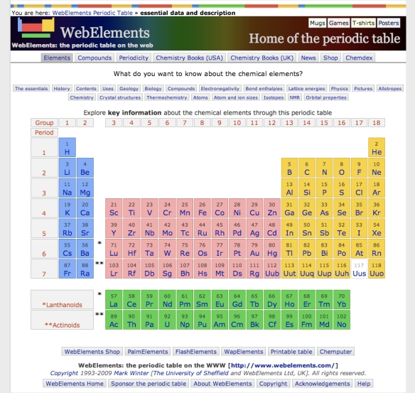 WebElements Periodic Table of the Elements (20090630)