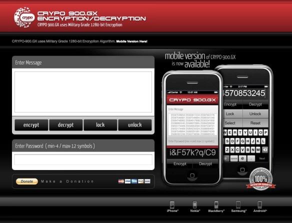 CRYPO-900.GX uses Very Strong Military Grade 1280-bit Encryption Algorithm. (20090710)