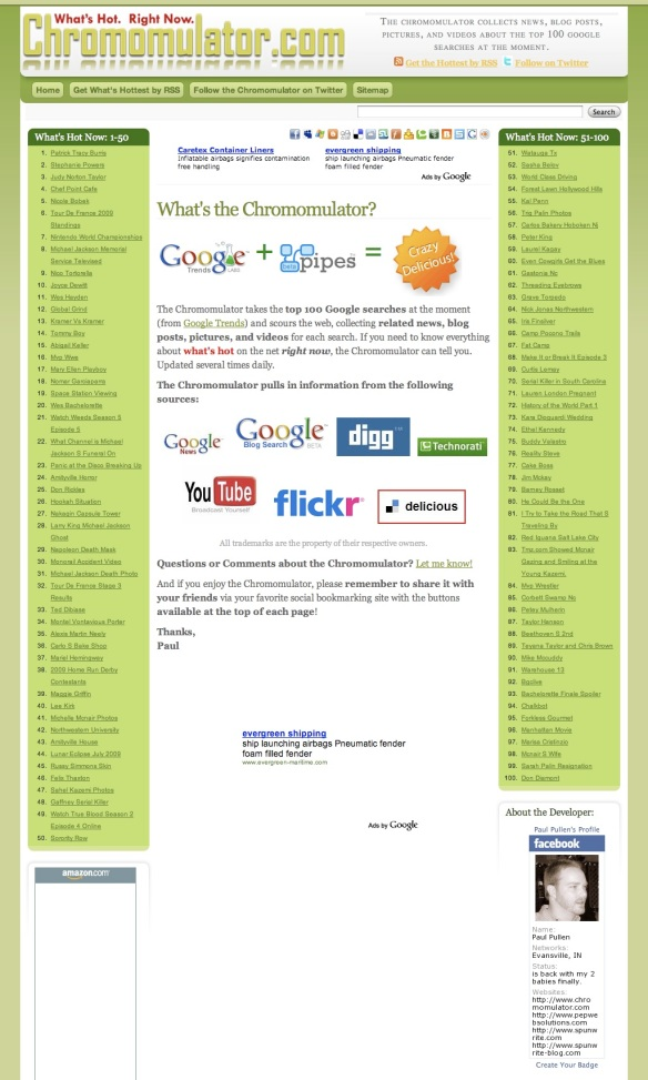 Top 100 Google Searches-News, Pics, and Videos | Chromomulator (20090707)
